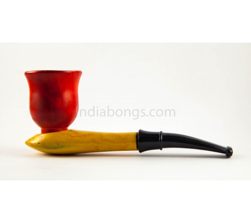 Red and Brown Gentleman Smoking Pipe